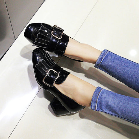 Patent Leather Pure Color Square Toe Block Heel Metal Embellished Tassel Loafers 9.5 Black