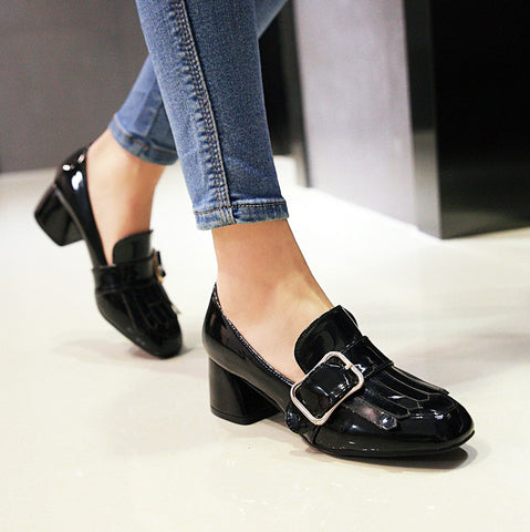 Patent Leather Pure Color Square Toe Block Heel Metal Embellished Tassel Loafers 9 Black
