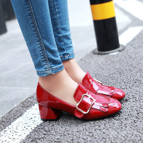 Patent Leather Pure Color Square Toe Block Heel Metal Embellished Tassel Loafers 9.5 Red