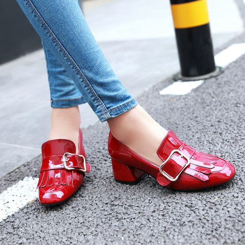 Patent Leather Pure Color Square Toe Block Heel Metal Embellished Tassel Loafers 8.5 Red