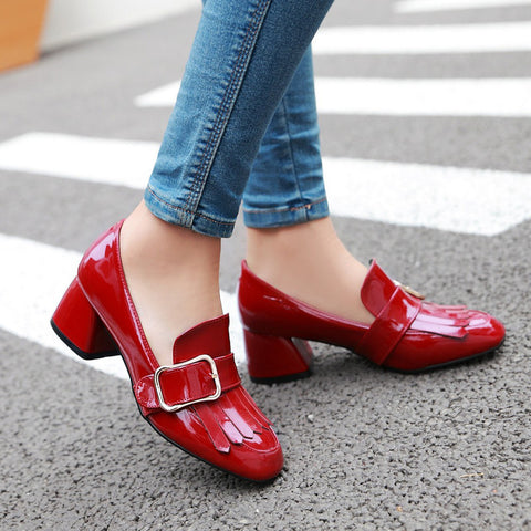 Patent Leather Pure Color Square Toe Block Heel Metal Embellished Tassel Loafers 9 Red