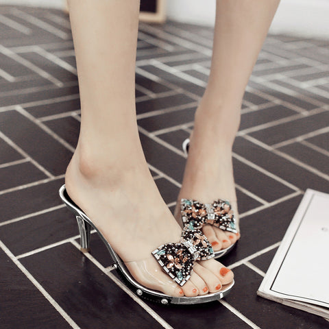 Plastic Transparent Color Open Toe Stiletto Heel Side Rivet Embellished Crystal Bowtie Mules 7 Black