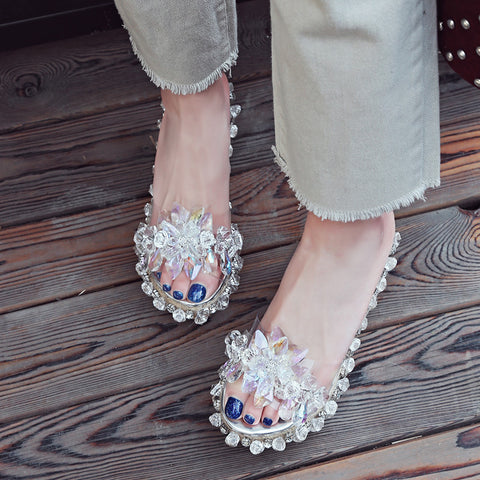 Plastic Transparent Open Toe Woven Wedge Heel Crystal Beads Slippers 7 White