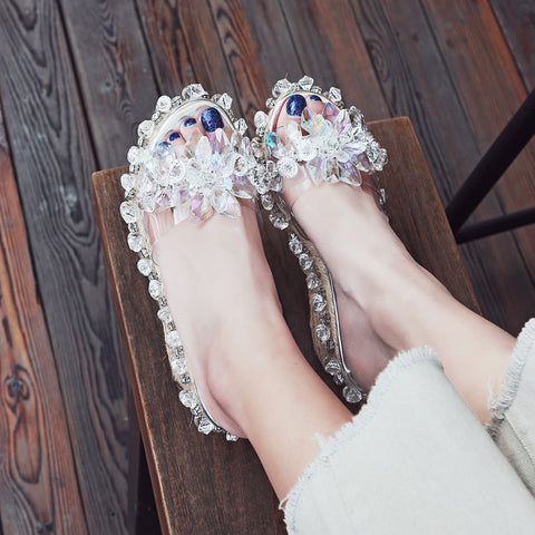 Plastic Transparent Open Toe Woven Wedge Heel Crystal Beads Slippers 7.5 White