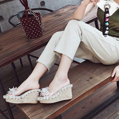 Plastic Transparent Open Toe Woven Wedge Heel Crystal Beads Slippers 6.5 White