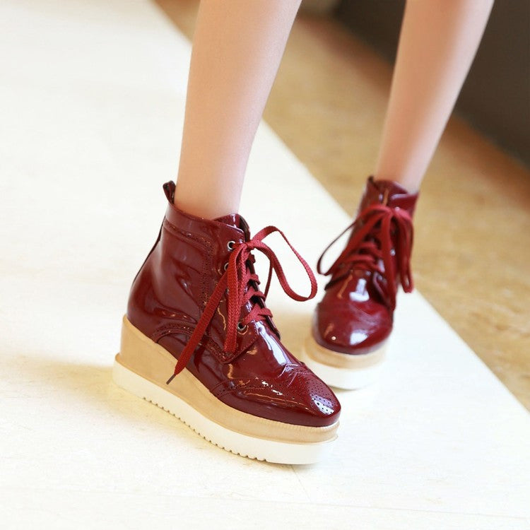 PU Pure Color Round Toe Middle Heel Lace Up Platform Casual Shoes 7 Wine red
