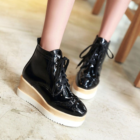 PU Pure Color Round Toe Middle Heel Lace Up Platform Casual Shoes 7 Black