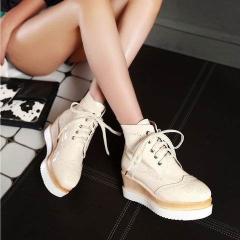 PU Pure Color Round Toe Middle Heel Lace Up Platform Casual Shoes 6.5 Beige