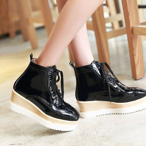 PU Pure Color Round Toe Middle Heel Lace Up Platform Casual Shoes 7.5 Black