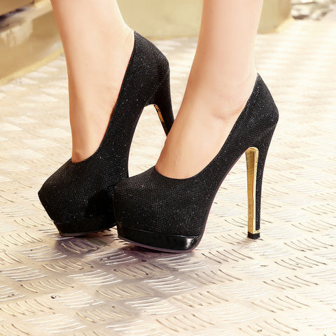 Sequin Fabric Pure Color Round Toe Stiletto Heel Platform Pumps 9 Black