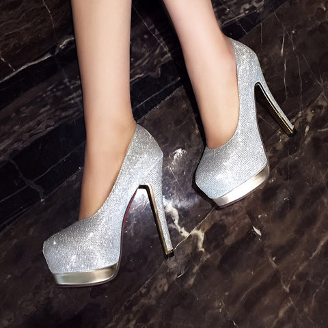 Sequin Fabric Pure Color Round Toe Stiletto Heel Platform Pumps 8.5 Silver