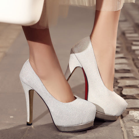 Sequin Fabric Pure Color Round Toe Stiletto Heel Platform Pumps 8.5 White