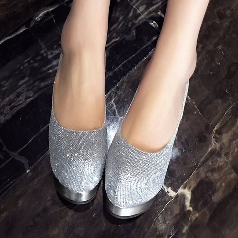 Sequin Fabric Pure Color Round Toe Stiletto Heel Platform Pumps 9 Silver