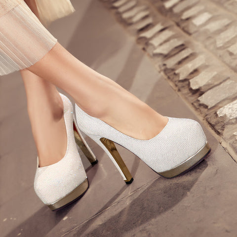 Sequin Fabric Pure Color Round Toe Stiletto Heel Platform Pumps 9 White