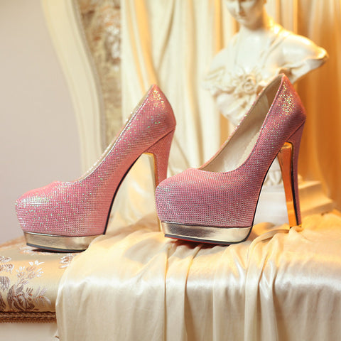 Sequin Fabric Pure Color Round Toe Stiletto Heel Platform Pumps 9.5 Pink