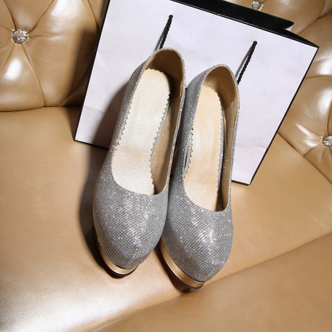 Sequin Fabric Pure Color Round Toe Stiletto Heel Platform Pumps 9.5 Silver
