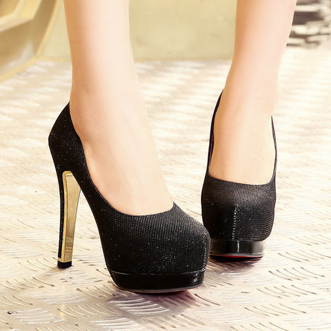 Sequin Fabric Pure Color Round Toe Stiletto Heel Platform Pumps 8.5 Black
