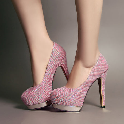 Sequin Fabric Pure Color Round Toe Stiletto Heel Platform Pumps 8.5 Pink
