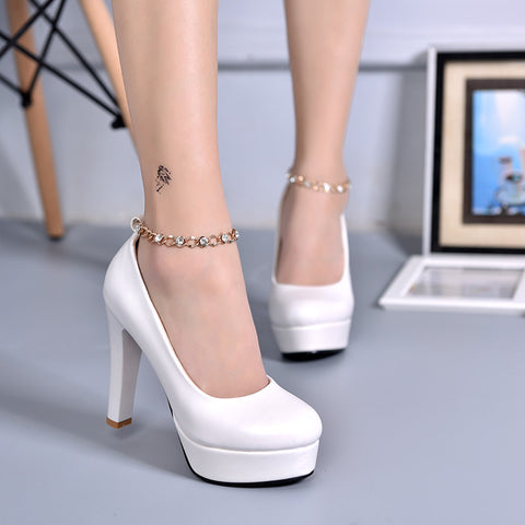 PU Candy Color Round Toe Block Heel Metal Chain With Crystal Ankle Strap Pumps 7.5 White