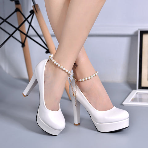 PU Candy Color Round Toe Block Heel Metal Chain With Crystal Ankle Strap Pumps 7 White
