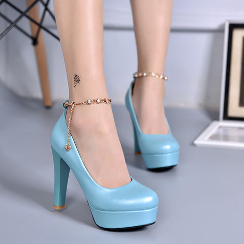 PU Candy Color Round Toe Block Heel Metal Chain With Crystal Ankle Strap Pumps 7.5 Blue