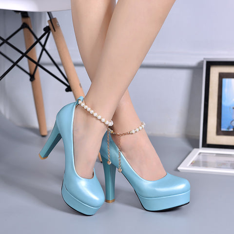 PU Candy Color Round Toe Block Heel Metal Chain With Crystal Ankle Strap Pumps 7 Blue