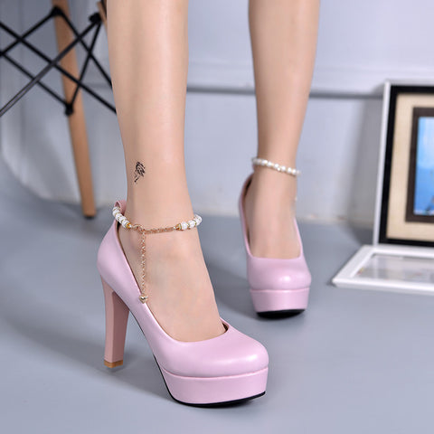 PU Candy Color Round Toe Block Heel Metal Chain With Crystal Ankle Strap Pumps 7.5 Pink