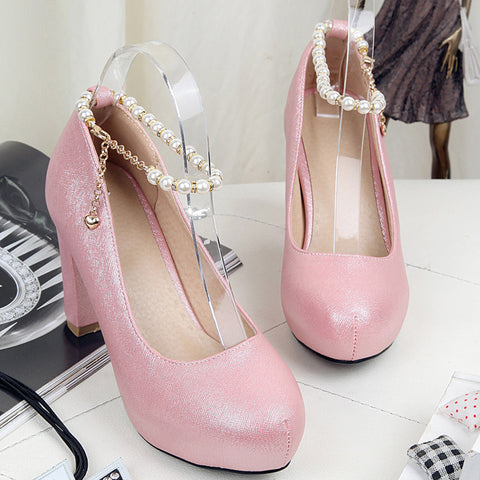 PU Candy Color Round Toe Block Heel Pearl Ankle Strap Pumps 9.5 Pink