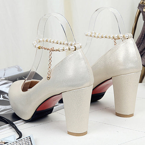 PU Candy Color Round Toe Block Heel Pearl Ankle Strap Pumps 9 Gold