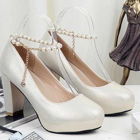 PU Candy Color Round Toe Block Heel Pearl Ankle Strap Pumps 9.5 Gold