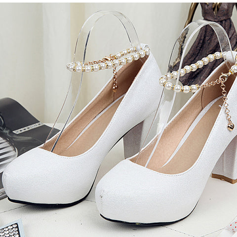 PU Candy Color Round Toe Block Heel Pearl Ankle Strap Pumps 9.5 White