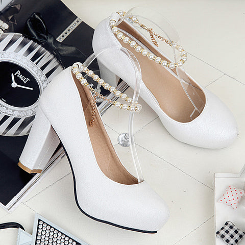 PU Candy Color Round Toe Block Heel Pearl Ankle Strap Pumps 9 White