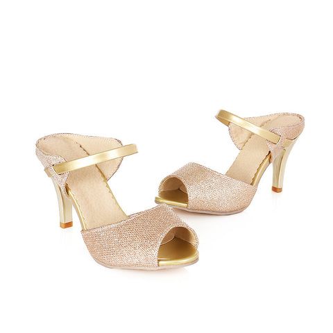 PU Casual High Kitten Heel Peep Toe Strap Sandals 7 Gold