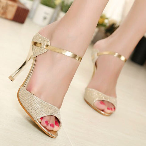 PU Casual High Kitten Heel Peep Toe Strap Sandals 7.5 Gold