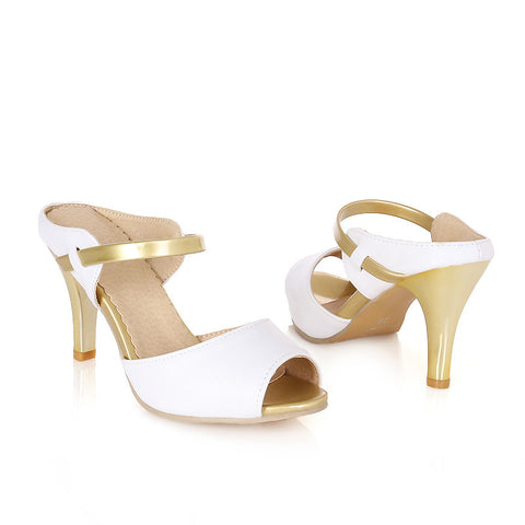 PU Casual High Kitten Heel Peep Toe Strap Sandals 7 White