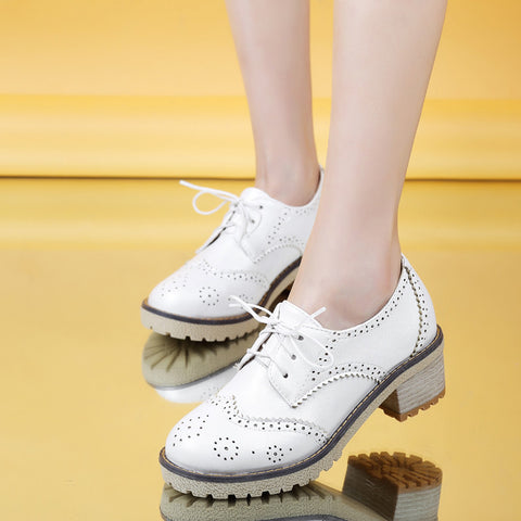 PU Casual Pure Color Block Heel Round Toe Lace Up Brogues 9.5 White