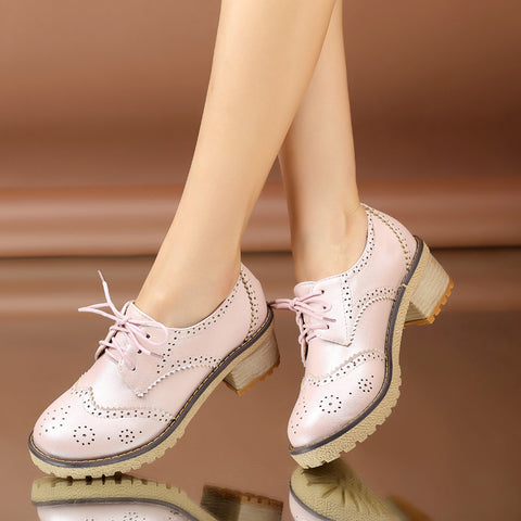PU Casual Pure Color Block Heel Round Toe Lace Up Brogues 9.5 Pink