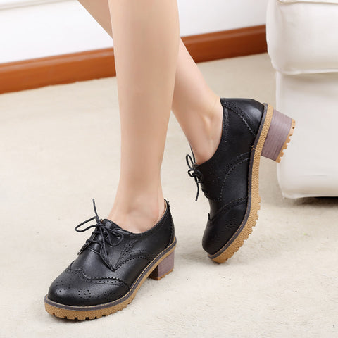 PU Casual Pure Color Block Heel Round Toe Lace Up Brogues 9.5 Black