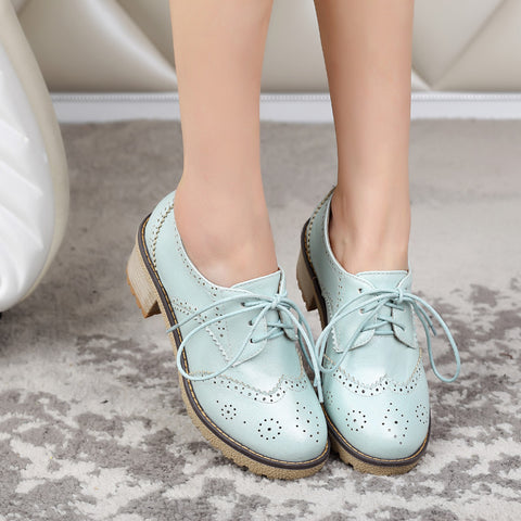 PU Casual Pure Color Block Heel Round Toe Lace Up Brogues 9.5 Cyan