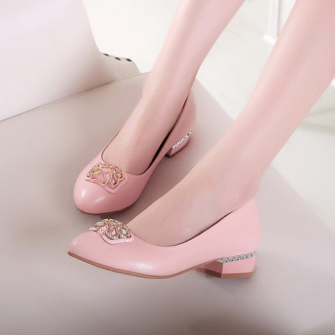 PU Casual Pure Color Block Heel Round Toe Metal Decoration Loafer 9.5 Pink