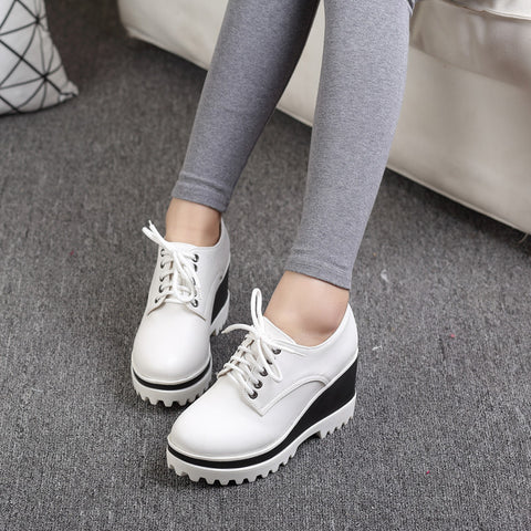 PU Casual Pure Color Round Toe Lace Up Wedge Heel Flatform Shoes 9.5 White