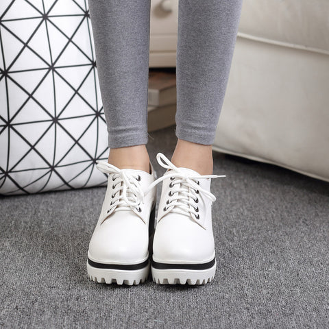 PU Casual Pure Color Round Toe Lace Up Wedge Heel Flatform Shoes 9 White