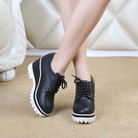 PU Casual Pure Color Round Toe Lace Up Wedge Heel Flatform Shoes 9 Black