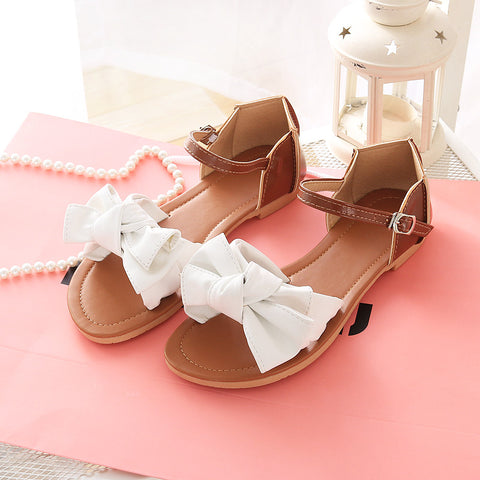 PU Mixed Color Open Toe Flat Heel Metal Buckle Belt Bowtie Sandals 9.5 White