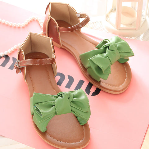 PU Mixed Color Open Toe Flat Heel Metal Buckle Belt Bowtie Sandals 9.5 Green
