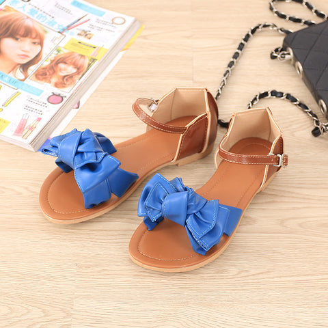 PU Mixed Color Open Toe Flat Heel Metal Buckle Belt Bowtie Sandals 9.5 Blue