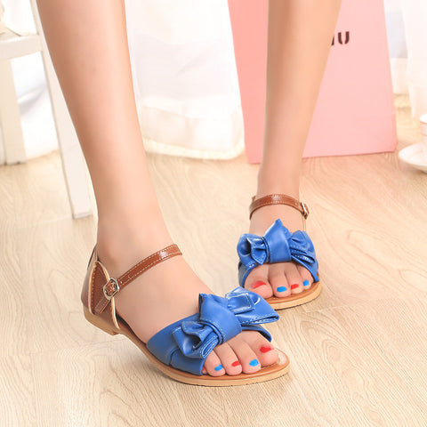 PU Mixed Color Open Toe Flat Heel Metal Buckle Belt Bowtie Sandals 8.5 Blue