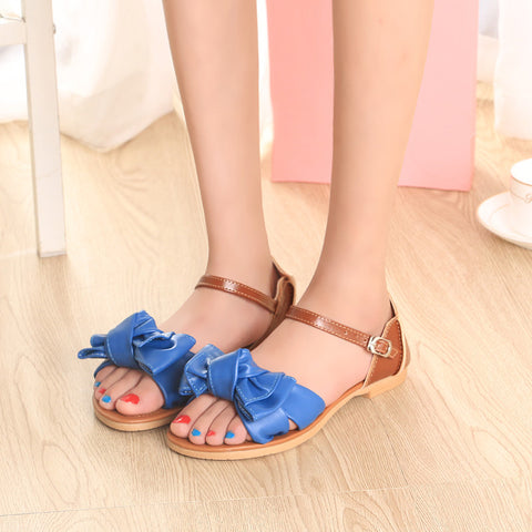 PU Mixed Color Open Toe Flat Heel Metal Buckle Belt Bowtie Sandals 9 Blue