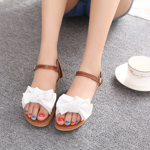 PU Mixed Color Open Toe Flat Heel Metal Buckle Belt Bowtie Sandals 9 White