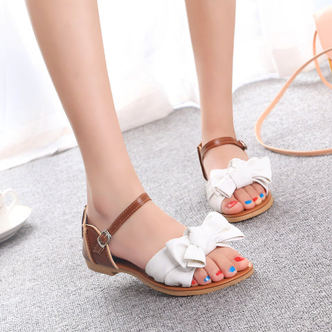 PU Mixed Color Open Toe Flat Heel Metal Buckle Belt Bowtie Sandals 8.5 White
